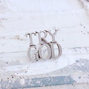 Vintage Tiffany & Co Try God Pin